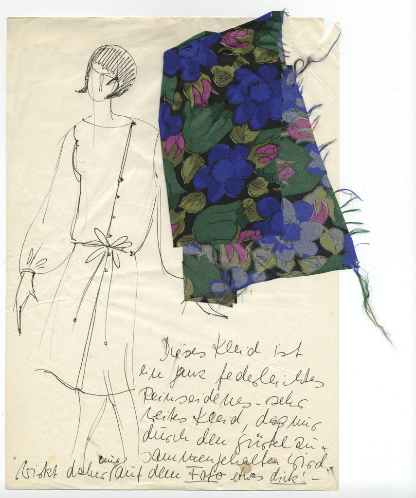 Entwurf für ein Seidenkleid