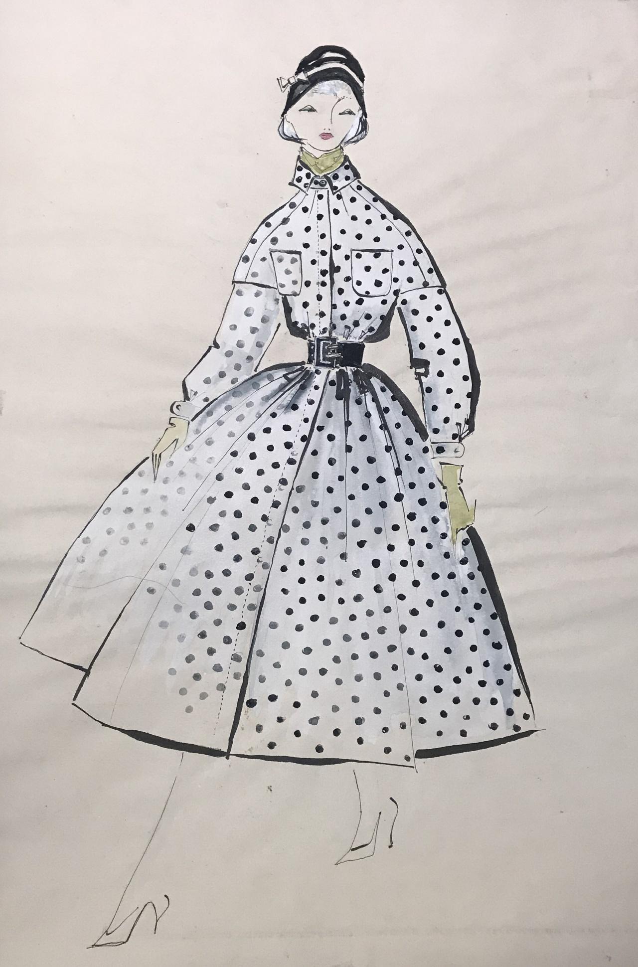 Entwurf für einen weißen Regenmantel mit schwarzen Punkten und breitem schwarzen Gürtel